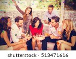 woman blowing birthday candles...   Shutterstock . vector #513471616