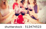 cropped image of hand toasting... | Shutterstock . vector #513474523