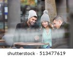 three happy frends sitting in a ... | Shutterstock . vector #513477619