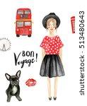 watercolor fashion illustration ... | Shutterstock . vector #513480643