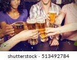 happy friends drinking beer and ... | Shutterstock . vector #513492784
