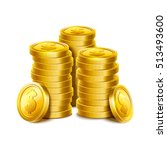 3d gold coins illustration.... | Shutterstock .eps vector #513493600