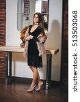 young beautiful brunette woman... | Shutterstock . vector #513503068