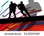hockey player sport silhouette... | Shutterstock .eps vector #513505540