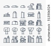 city elements minimalistic flat ... | Shutterstock .eps vector #513506524