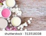 homemade natural lip balm in...   Shutterstock . vector #513518338
