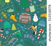 set of winter entertainment...   Shutterstock .eps vector #513518578
