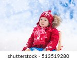 little girl enjoying a sleigh... | Shutterstock . vector #513519280