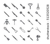 set of black icons with knives | Shutterstock .eps vector #513520528