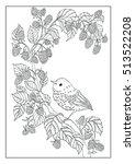 coloring book   little bird in... | Shutterstock . vector #513522208