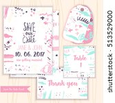 pink save tha date invitation... | Shutterstock .eps vector #513529000