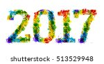 2017 year colourful bright ink... | Shutterstock .eps vector #513529948