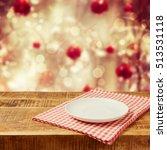 empty plate on wooden rustic... | Shutterstock . vector #513531118