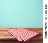 empty wooden deck table and red ... | Shutterstock . vector #513531130