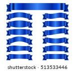 blue ribbons set. satin blank... | Shutterstock .eps vector #513533446