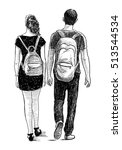 couple of the students on a walk | Shutterstock . vector #513544534