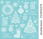 christmas decoration set   lots ... | Shutterstock .eps vector #513552274