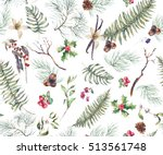 vintage floral seamless... | Shutterstock . vector #513561748
