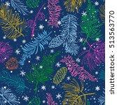 seamless pattern with fir... | Shutterstock .eps vector #513563770