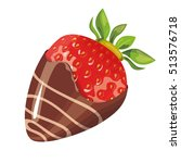 strawberry in chocolate ... | Shutterstock .eps vector #513576718