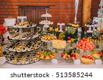 wedding buffet table | Shutterstock . vector #513585244