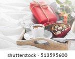 romantic breakfast with coffee  ... | Shutterstock . vector #513595600