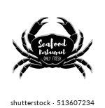 crab silhouette. seafood labels ... | Shutterstock .eps vector #513607234
