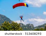 skydiver and colorful parachute ... | Shutterstock . vector #513608293
