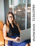 beautiful smiling businesswoman ... | Shutterstock . vector #513610984