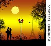 lovers in paris on beautiful... | Shutterstock .eps vector #513615100