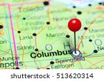 Small photo of Columbus pinned on a map of Ohio, USA