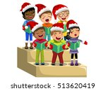multicultural kids wearing xmas ... | Shutterstock .eps vector #513620419