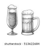 beer glass and beer mug... | Shutterstock .eps vector #513622684