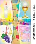 first communion eucharist... | Shutterstock .eps vector #513637168