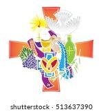 symbols of the seven sacraments ... | Shutterstock .eps vector #513637390