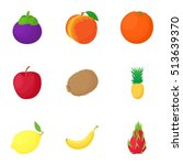 farm fruit icons set. cartoon... | Shutterstock .eps vector #513639370