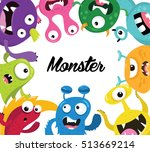 cute monster  monster logo ... | Shutterstock .eps vector #513669214