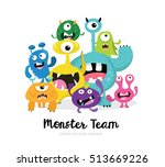 cute monster vector set   | Shutterstock .eps vector #513669226