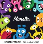 cute monster  monster logo ... | Shutterstock .eps vector #513669250