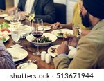 business people dining together ... | Shutterstock . vector #513671944