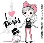 fashion girl in paris with her... | Shutterstock .eps vector #513672580
