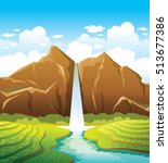cartoon waterfall with forest... | Shutterstock .eps vector #513677386