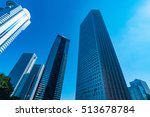 high rise buildings and blue... | Shutterstock . vector #513678784
