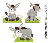 Set Of Isolated Donkey In...