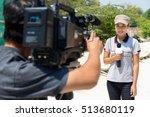 female journalist outside... | Shutterstock . vector #513680119