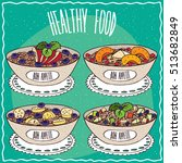 set of different bowls of... | Shutterstock .eps vector #513682849