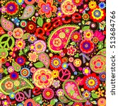 wallpaper with colorful flower... | Shutterstock .eps vector #513684766