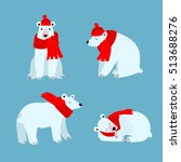 cartoon cute polar bear animal... | Shutterstock .eps vector #513688276