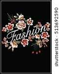 embroidery ethnic flowers neck... | Shutterstock .eps vector #513692590