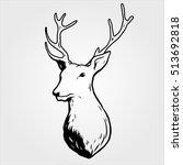 deer head sketch draw | Shutterstock .eps vector #513692818